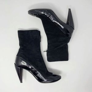 Costume National Black Patent Leather Suede Bootie
